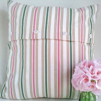 Shabby chic pillow, springtime, cotton and linen, euro sham, throw pillow, accent pillow, cushion, europeanstreetteam