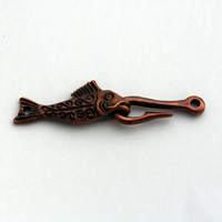 1 Mykonos Fish & Hook Clasp - Greek Casting Bronze Clasp - 50 mm Clasp