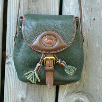 Vintage Dooney & Bourke Green and Brown Drawstring Satchel Purse