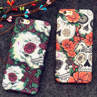 Creative skeleton flower cell phone case for iPhone 7 7 plus iPhone 6, iPhone 6S, iPhone 6 Plus,  iPhone 6S Plus  + Nice Gift Box !