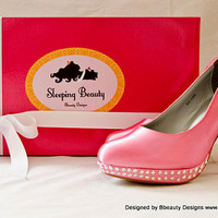 "Sleeping Beauty ""Aurora"" Couture Style Rose Adult Pair Shoes Dress Shoes Heels Custom Made"