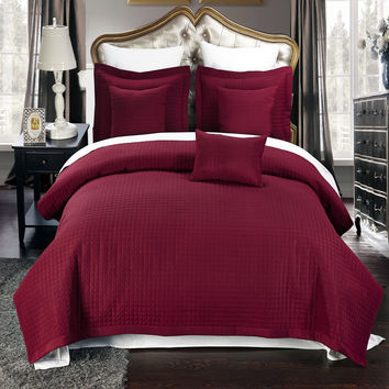 Luxury Burgundy Checkered Quilted Wrinkle Free Microfiber Multi-Piece Coverlets Set