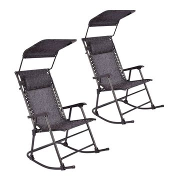 2 TWO Folding Rocking Chair Porch Patio Indoor Rocker With Canopy & Headrest