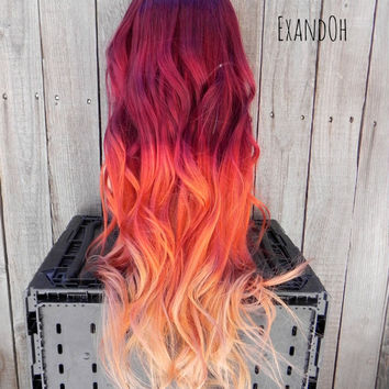 ON SALE // Fire Ombre Red Orange Yellow Blonde / Remy Human Hair  /  Long Straight Layered Wig