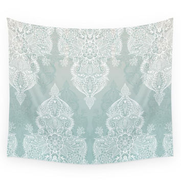Society6 Lace Shadows Soft Sage Grey White Morocc Wall Tapestry