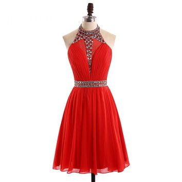 Pretty Sexy Halter Neck Red Short Cocktail Dresses Sleeveless A Line Beading Chiffon Above Knee Length Dress Cocktail