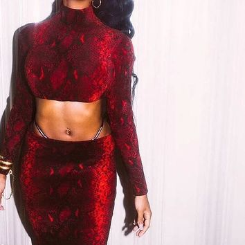 Women Sexy Red Snake Print Fashion Two Piece Long Sleeve Crop Top Maxi Skirt Set