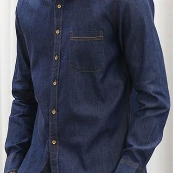 Mens Dark Blue Vintage Denim Shirt