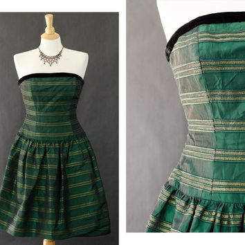 80s Prom Dress, Strapless Party Dress, Christmas Dress, Metallic Green Prom Dress, Women's Size 8 Dress, Crinoline Velvet Gothic Prom Dress