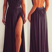 Halter Open Back A-Line Prom Dresses,Evening Dresses