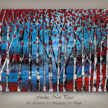 Oil Painting, LANDSCAPE PAINTING Red Large Textured bitch Tree Art Contemporary Art Modern art Decor Art gallery Canvas Wall hanging Artwork