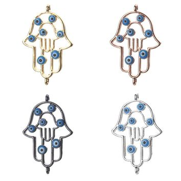 1pc 25*17mm Fashion hollow Hamsa Hand Evil Eye Charms Connectors Copper Jewelry Accessories For Women Diy Bracelet Necklace Gift