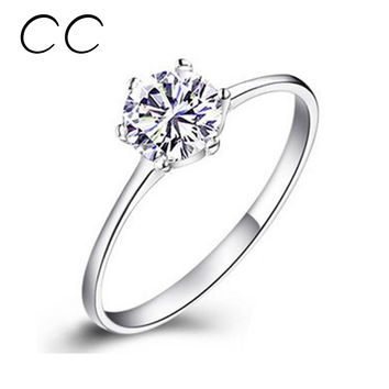 Engagement Rings For Women Simple Classic Bague CC041 White Gold Plated CZ Diamond Jewelry Bijoux Femme Wedding Ring Women