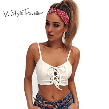 Summer Style Lace Up Crop Top Women White Cropped Camis Beach Blouse Casual Sexy  femme Boho Gypsy Fitness Tees