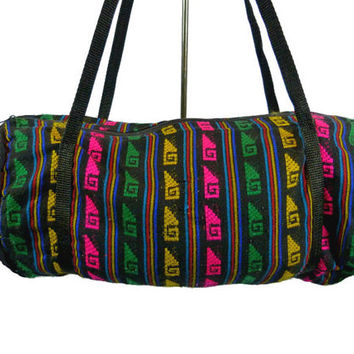 Vintage Embroidered Duffle Bag Duffel Artisan Ethnic Weekender Hippie South American Woven 80s 90s Travel Carry On Luggage Padded Cloth