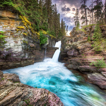 Scenic waterfall in Glacier National Park Montana – St. Mary Falls landscape fine art nature travel photography for lake and home décor