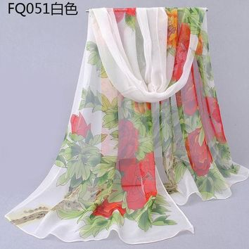 ESBU3C Newest Design lovely silk scarf floral pashmina big flower scarves women long rectangle Spring and Autumn female peony flowers