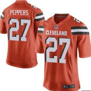 ICIKU3N Men's Cleveland Browns #27 Jabrill Peppers Orange Nike NFL Elite Jersey
