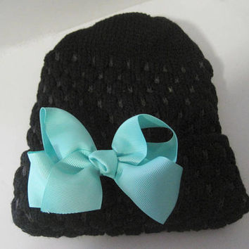 Adorable Black Toddler Sweater Beanie with Aqua Grosgrain Bow Winter Hats Baby Hats Toddler Hats