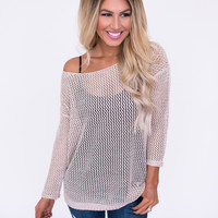 Beige Loop Knit Pullover