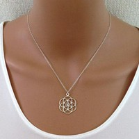 Seed And Flower Of Life Yoga Jewelry Sacred Geometry  Mandala Pendant necklace
