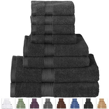 8-Piece Luxury Soft 100-Percent Cotton Bath Towel Set in Black