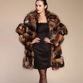 Luxury Real Fur Coat Woman Genuine Fox Fur Coats For Women's Coat Natural Furs Long Fur Jacket Overcoat Large Size 5XL