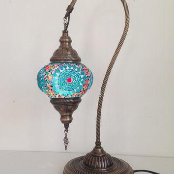 Turquoise Swan Neck  Mosaic Lamp With Vintage Look Bronze Plated Base, Bedside night lamp, Turkish night lamp, Night Decorations, Lightings.