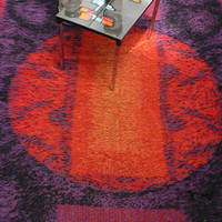 mid century modern purple orange abstract Rya rug / 1960s modernist rug / Eames  Herman Miller Alexander Girard era