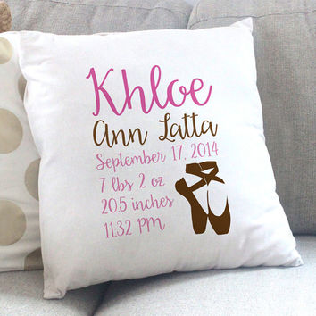 Personalized Ballerina Hot Pink Brown Throw Pillow - Birth Stats - Ballerina Nursery - Newborn Baby Shower - New Baby Gift - Dancer Nursery