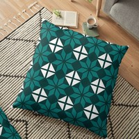 Geometric Flowers Throw Pillow Cushion Decorative Cover Bright Home Interior Couch Decor Modern Teal Mod Emerald Green Traditional Pattern