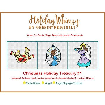 Christmas Holiday Treasury #1 Partridge Birds and Angels THREE Counted Cross Stitch Patterns