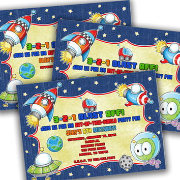 Space Birthday Invitation - Outer Space Birthday Party Invites - Rocket Ship - Aliens - Stars - Planets - Galaxy Party - Kids Boys Party