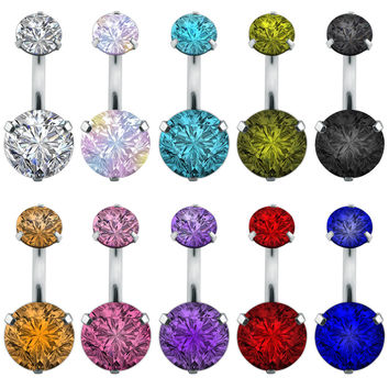 Double crystal rhinestone navel belly button ring pircing surgical steel fake belly piercing cute navel ringen bar navel belly