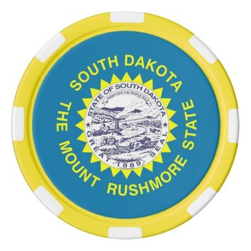 Poker chips with Flag of South Dakota
