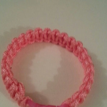 Pink paracord parachute cord 550/325 bracelet with survival buckle or regular buckle