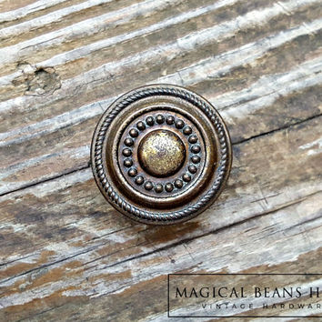 Farmhouse Decor Rustic Dresser Knob Farmhouse Furniture Bronze Gold Brown Brass Drawer Knobs Cabinet Knob Multiring Beaded Decorative Knob