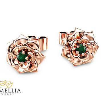 14K Rose Gold Emerald Earrings Flower Stud Earrings Unique Stud Earrings Handmade Emerald Earrings