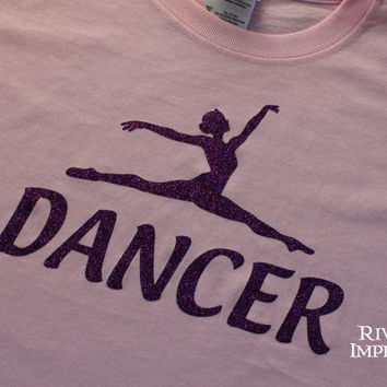 Youth DANCER, youth girls sparkly glitter tee shirt