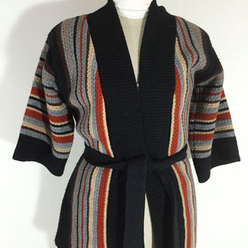 Vintage Striped Sweater 1970s Sweater Orange Brown Black Wrap Sweater Striped Tie Sweater Striped Cardigan Boho Hippie Festival Wear