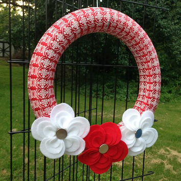 Red Ribbon Wreath with Red & White Handmade Flowers
