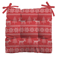 Natt Christmas Knitting Deer Outdoor Seat Cushion