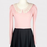 Parisian Stroll Lace Collar Color Block Dress in Dusty Pink | Sincerely Sweet Boutique