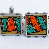 Vintage Illustration Cufflinks Gift for Him Teal and Orange Abstract Pattern