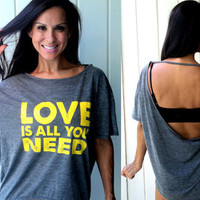 love is all you need...backless flowy burnout tee.