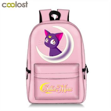 School Backpack trendy Anime Sailor Moon / Totoro Backpack For Teenager Girls Children School Bags Luna / Cartoon Bear Student  Book Bag AT_54_4