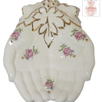 Vintage English Rose Chintz Floral Open Hands Soap Dish Tray Staffordshire - Hand Shaped Trinket Dish
