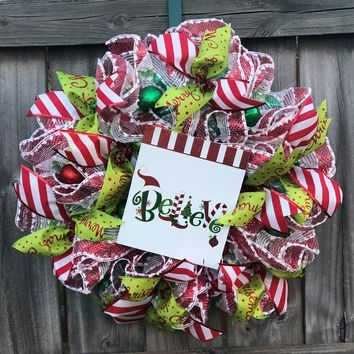 BELIEVE Christmas Mesh Outdoor Front Door Wreath; Door Hanger, Red, White, Green
