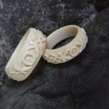 Personalized Wedding Rings Set Natural Organic Promise Ivory Ring Ooak Engagement Carved Bone Custom