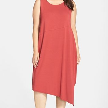 Plus Size Women's Eileen Fisher Jersey Ballet Neck Asymmetrical Shift Dress,